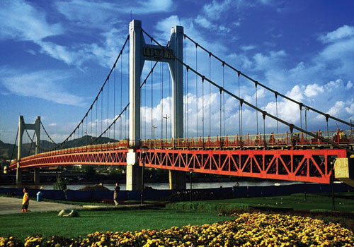 兰州中山桥简笔画_兰州黄河大桥简笔画内容图片展示_兰州黄河大桥简笔画图片下载
