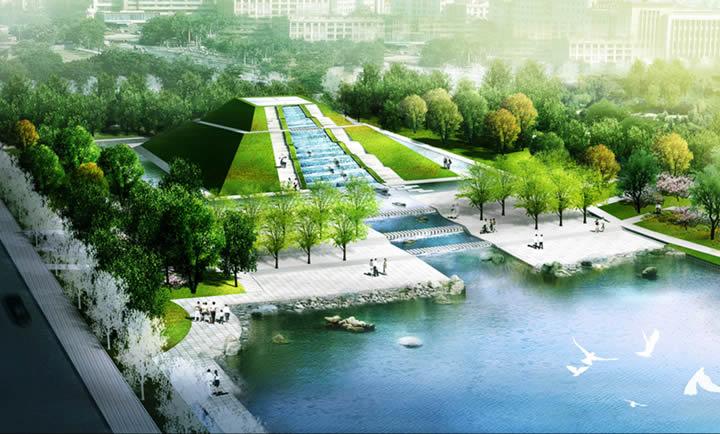 城市水系滨河绿地