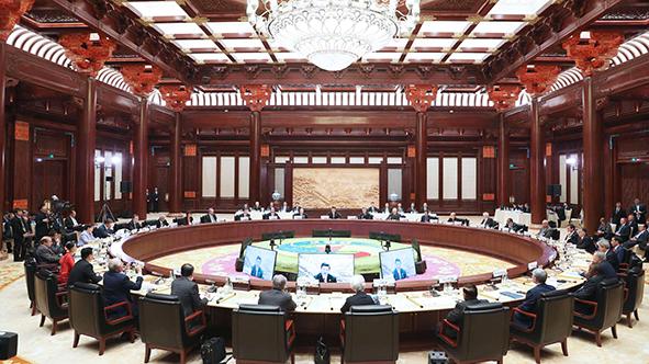 """5月15日,""""一带一路""""国际合作高峰论坛在北京雁栖湖国际会展中心举行圆桌峰会"""