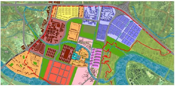 土地分配原则,城市核心功能与产业之间有绿化带隔离